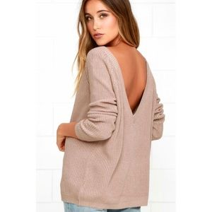 Just For You Light Brown Backless Sweater
